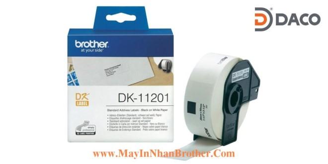DK-11201 Nhãn giấy Brother DK11201, 29x90mm, 400 miếng, Chữ Đen Nền Trắng