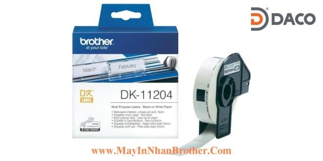 DK-11204 Nhãn giấy Brother DK11204, 17x54mm, 400 miếng, Chữ Đen Nền Trắng