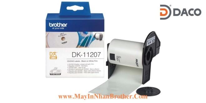 DK-11207 Nhãn giấy Brother DK11207, Tròn 58mm, 100 miếng, Chữ Đen Nền Trắng