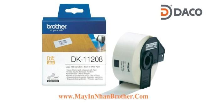 DK-11208 Nhãn giấy Brother DK11208, 38x90mm, 400 miếng, Chữ Đen Nền Trắng