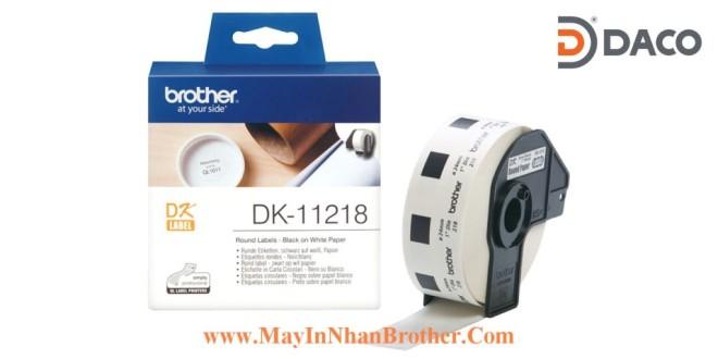 DK-11218 Nhãn giấy Brother DK11218, Tròn 24mm, 1000 miếng, Chữ Đen Nền Trắng
