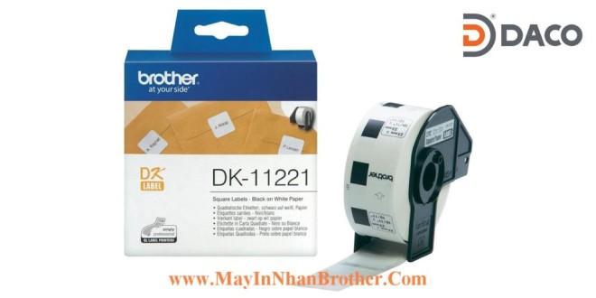 DK-11221 Nhãn giấy Brother DK11221, Vuông 23mm, 1000 miếng, Chữ Đen Nền Trắng