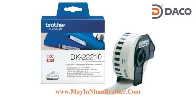 DK-22210 Nhãn giấy Brother DK22210, 29mm x 30.48m, Chữ Đen Nền Trắng