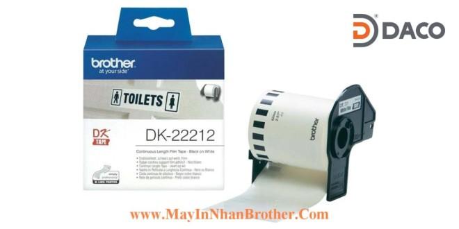 DK-22212 Nhãn giấy Brother DK22212, 62mm x 15.24m, Chữ Đen Nền Trắng