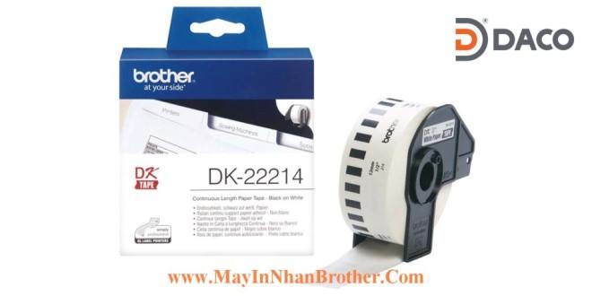DK-22214 Nhãn giấy Brother DK22214, 12mm x 30.48m, Chữ Đen Nền Trắng