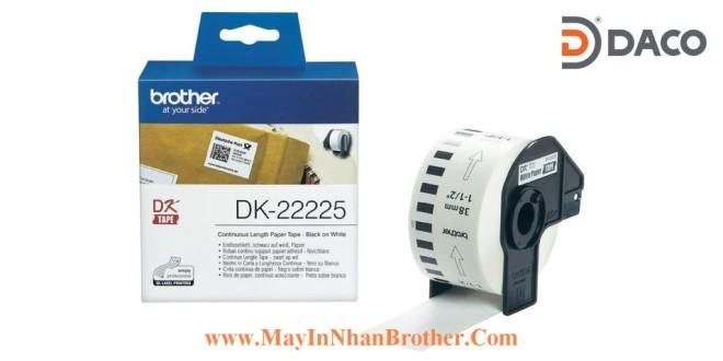 DK-22225 Nhãn giấy Brother DK22225, 38mm x 30.48m, Chữ Đen Nền Trắng