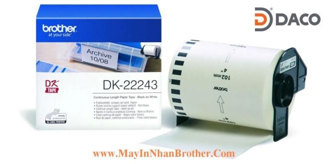DK-22243 Nhãn giấy Brother DK22243, 102mm x 30.48m, Chữ Đen Nền Trắng