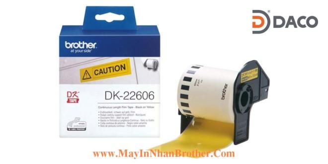 DK-22206 Nhãn giấy Brother DK22206, 62mm x 15.24m, Chữ Đen Nền Vàng