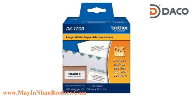 DK-1208 Nhãn giấy Brother DK1208 Nhãn Địa Chỉ  38mm x 90mm, 400 miếng, Chữ Đen, Nền Trắng