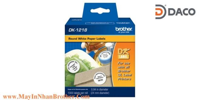 DK-1218 Nhãn giấy Brother DK1218 Nhãn Tròn D24mm, 1000 miếng, Chữ Đen, Nền Trắng