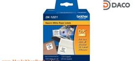 DK-1221 Nhãn giấy Brother DK1221 Nhãn Vuông S23mm, 1000 miếng, Chữ Đen, Nền Trắng