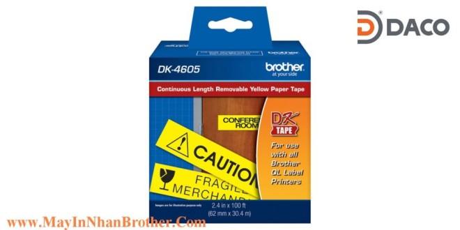 DK-4605 Nhãn giấy bóc được Brother DK4605 chữ Đen nền Vàng 62mm x 30.48m