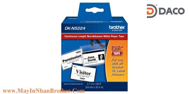 DK-N5224 Nhãn giấy không dính Brother DKN5224 chữ Đen nền Trắng 54mm x 30.48m