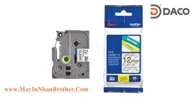 TZe-131 Brother Nhãn in đa lớp 12mm x 8m Chữ Đen Nền Trắng Trong